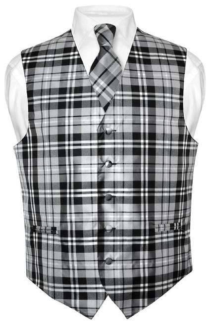 Mens Plaid Design Dress Vest & NeckTie Black Gray White Neck Tie Set