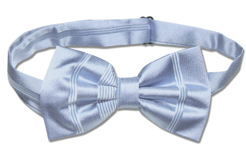 Vesuvio Napoli BowTie Baby Blue Woven Striped Design Mens Bow Tie