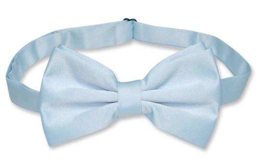 Mens Dress Vest & BowTie Solid Baby Blue Color Bow Tie Set