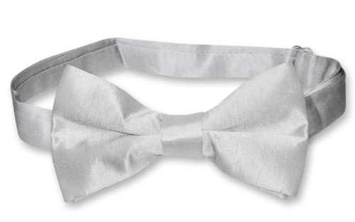 Biagio Mens Solid Silver Gray Bamboo Silk Dress Vest Bow Tie Set