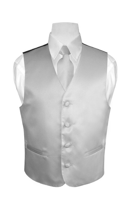 Boys Dress Vest NeckTie Solid Silver Grey Color Neck Tie Set