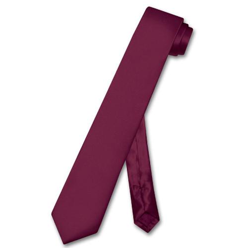 Biagio 100% Silk Narrow NeckTie Skinny Eggplant Purple Color Mens  Tie