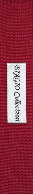 Dark Red Knit Neck Tie | Biagio Solid Color Knitted Mens NeckTie