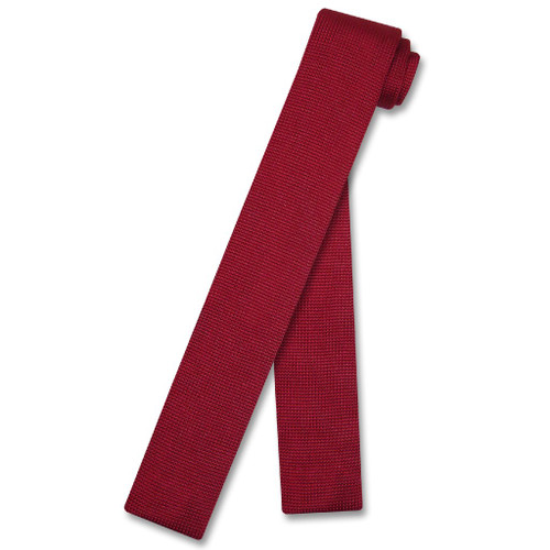 Dark Red Knit Neck Tie | Biagio Solid Color Knitted Mens NeckTie