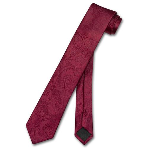 Vesuvio Napoli Narrow NeckTie Solid Burgundy Paisley Skinny Mens Tie