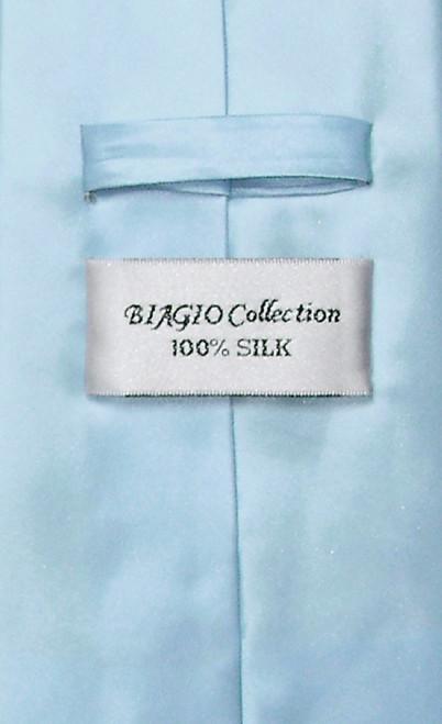 Biagio 100% Silk NeckTie Solid Baby Blue Color Mens Neck Tie