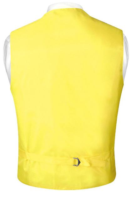 Mens Dress Vest & NeckTie Solid Golden Yellow Color Neck Tie Set