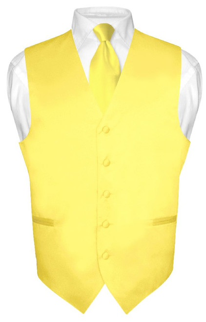 Mens Dress Vest & NeckTie Solid Golden Yellow Color Neck Tie Set