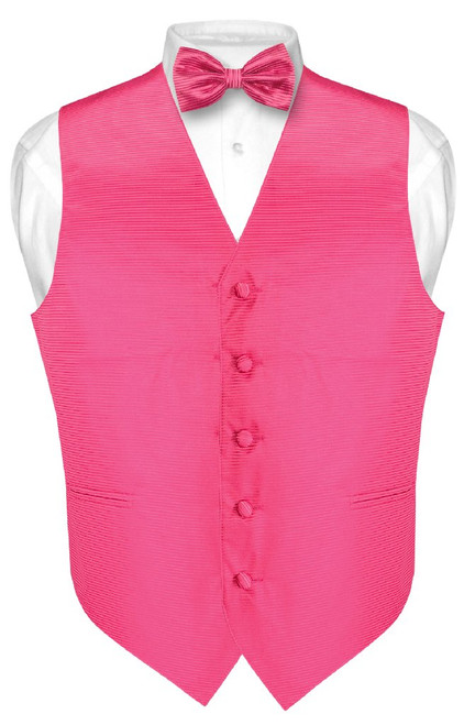 Mens Dress Vest BowTie Hot Pink Fuchsia Woven Horizontal Stripe Set