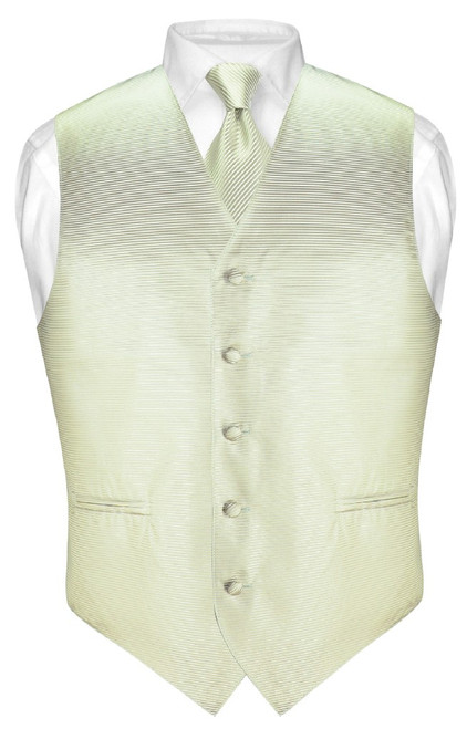 Mens Dress Vest NeckTie Sage Green Neck Tie Horizontal Stripe Set
