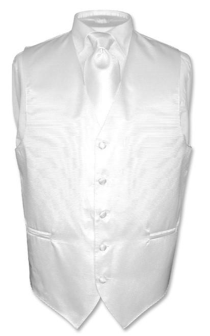 Mens Dress Vest & NeckTie White Neck Tie Horizontal Stripe Design Set