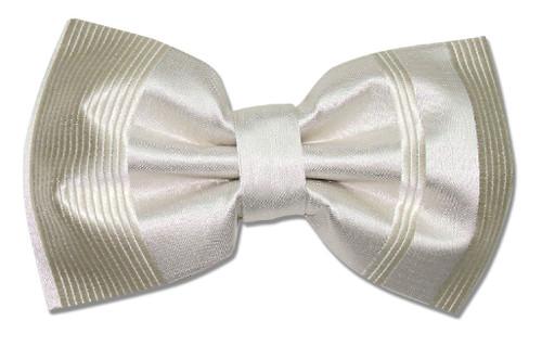 Vesuvio Napoli BowTie Cream Off-White Striped Design Mens Bow Tie