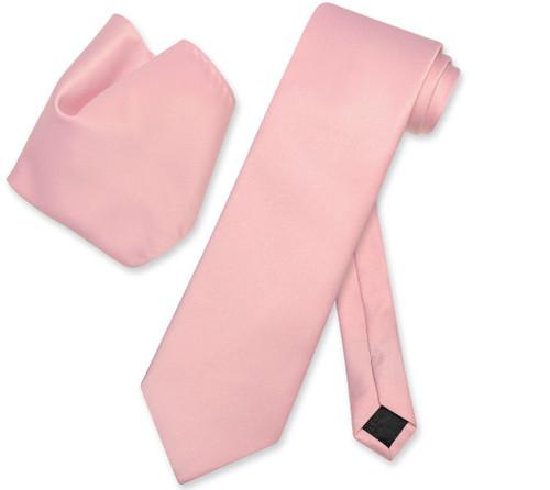 Vesuvio Napoli Solid Dusty Pink NeckTie Handkerchief Mens Neck Tie Set