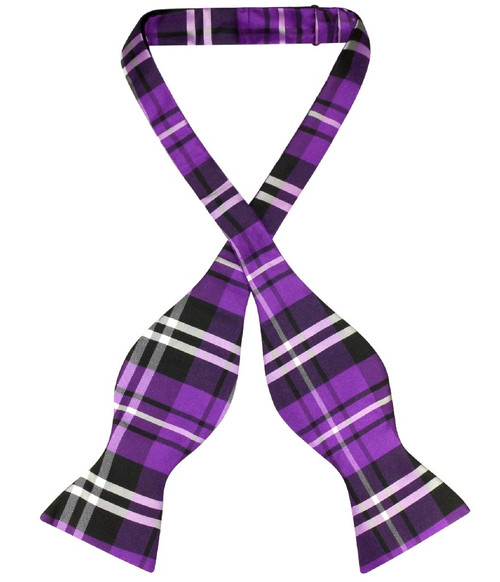 Vesuvio Napoli Self Tie BowTie Black Purple White Plaid Bow Tie