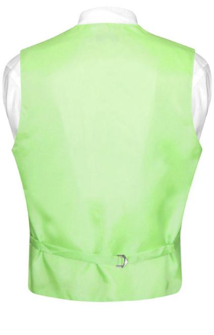 Mens Dress Vest & NeckTie Solid Lime Green Color Neck Tie Set