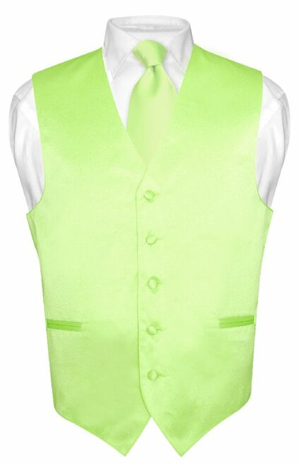 Mens Dress Vest & NeckTie Solid Lime Green Color Neck Tie Set