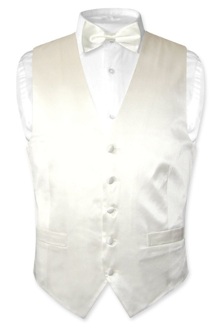 Off White Vest | Off White BowTie | Silk Vest Bow Tie Set