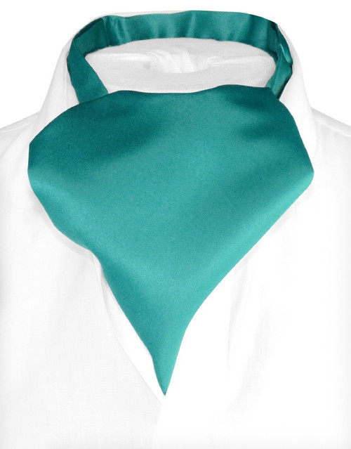 Teal Cravat Tie | Vesuvio Napoli Mens Solid Color Ascot Cravat Tie