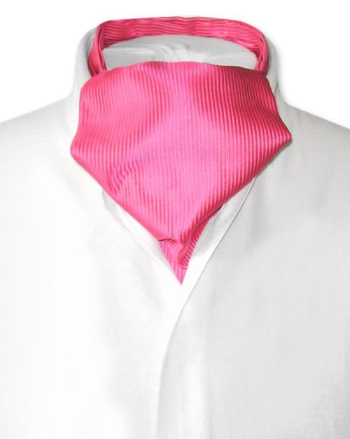 Hot Pink Fuchsia Cravat | Solid Color Ribbed Ascot Cravat Mens Tie