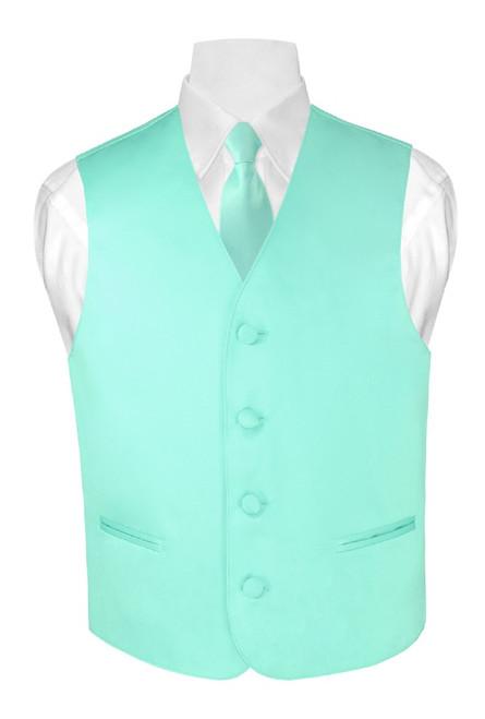 Boys Dress Vest NeckTie Solid Aqua Green Color Neck Tie Set
