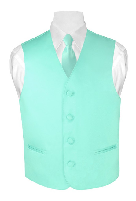 Boys Dress Vest NeckTie Solid Aqua Green Color Neck Tie Set