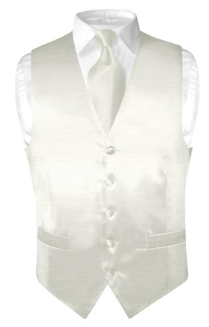 Biagio Mens Off-White Bamboo Silk Dress Vest Neck Tie Set sz 2XL