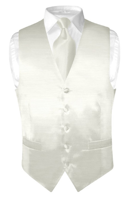 Biagio Mens Off-White Bamboo Silk Dress Vest Neck Tie Set sz 2XL