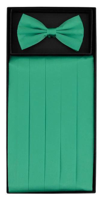 Silk Cumberbund BowTie Aqua Green Color Mens Cummerbund Bow Tie Set