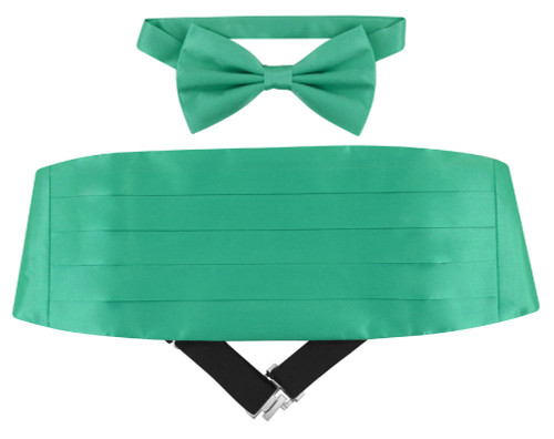 Silk Cumberbund BowTie Aqua Green Color Mens Cummerbund Bow Tie Set