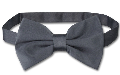 Vesuvio Napoli BowTie Solid Charcoal Grey Color Mens Bow Tie