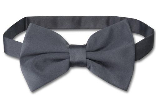 Vesuvio Napoli BowTie Solid Charcoal Grey Color Mens Bow Tie