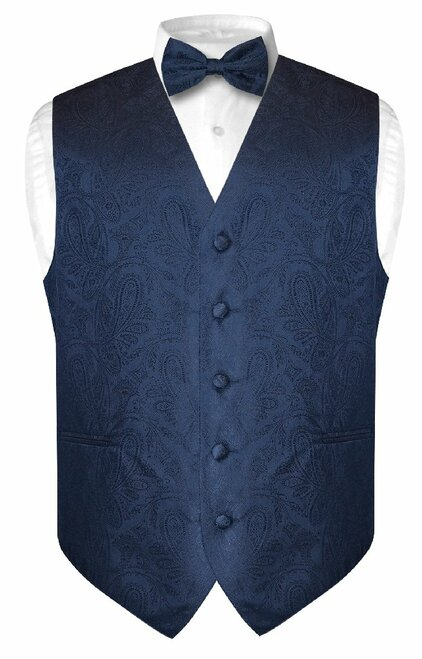 Mens Paisley Design Dress Vest & Bow Tie Navy Blue Color BowTie Set