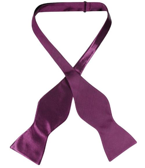 Biagio Self Tie Bow Tie Solid Eggplant Purple Color Mens BowTie