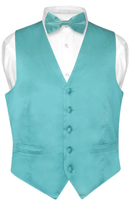Biagio Mens Silk Dress Vest Bow Tie Solid Turquoise Blue BowTie Set