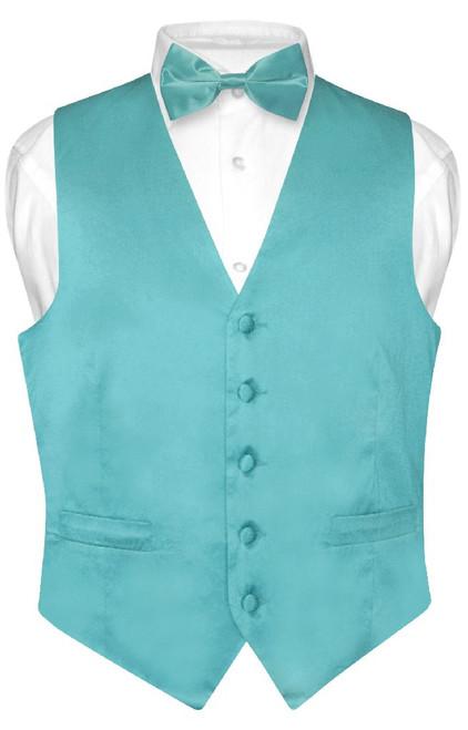 Biagio Mens Silk Dress Vest Bow Tie Solid Turquoise Blue BowTie Set