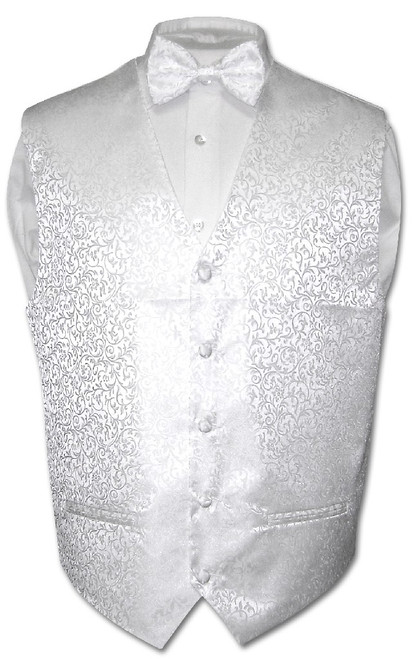 Antonio Ricci Mens White Paisley Dress Vest Bow Tie Set Size 3XL