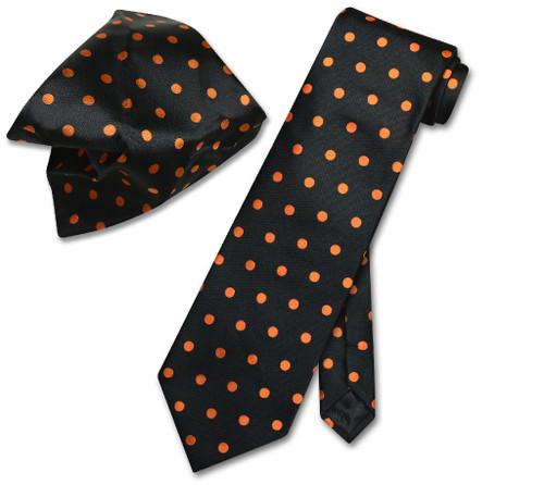 Vesuvio Napoli Black Orange Polka Dots NeckTie Handkerchief Tie Set