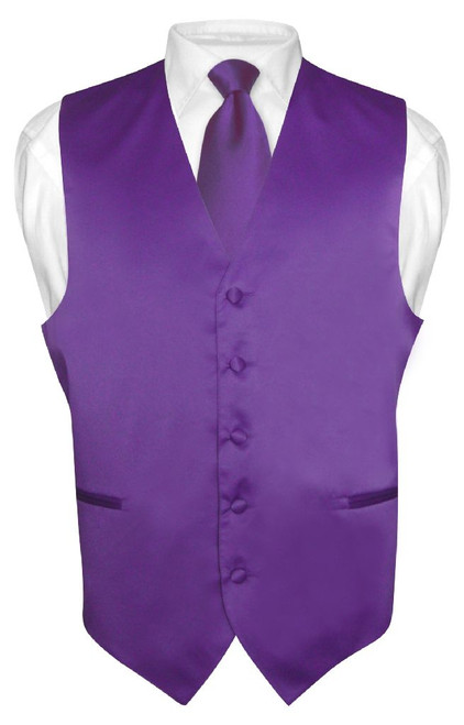 Mens Dress Vest & NeckTie Solid Purple Indigo Color Neck Tie Set