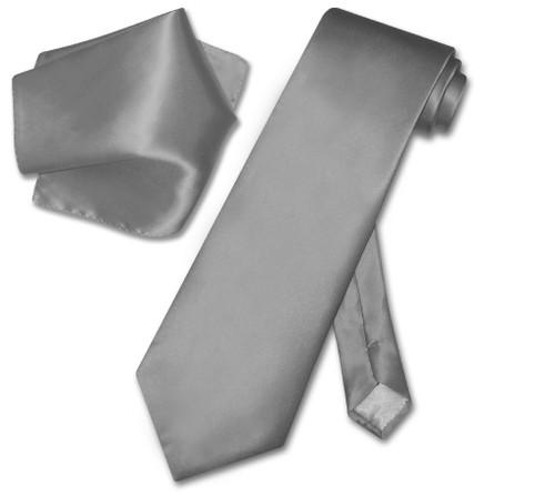 Biagio Silk Solid Charcoal Grey Color NeckTie Hanky Mens Neck Tie Set