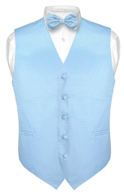 Mens Dress Vest BowTie Baby Blue Woven Bow Tie Horizontal Stripe Set