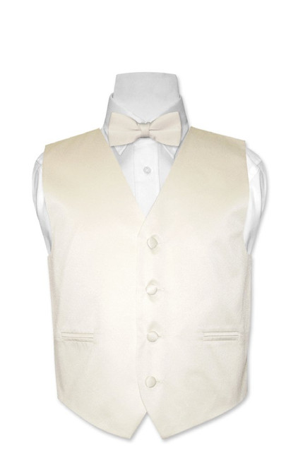 Covona Boys Dress Vest Bow Tie Solid Cream BowTie Set size 14