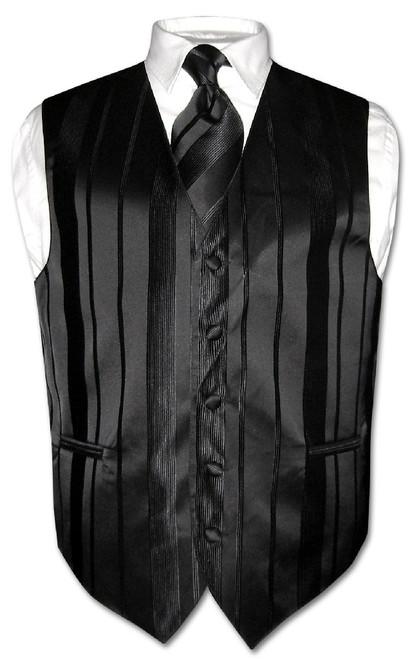 Mens Dress Vest & NeckTie Black Color Woven Striped Neck Tie Set