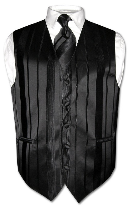 Mens Dress Vest & NeckTie Black Color Woven Striped Neck Tie Set