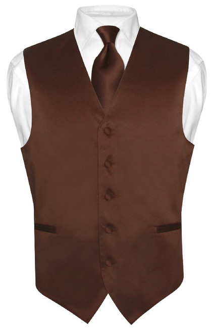 Chocolate Brown Vest | Mens Brown Dress Vest And Necktie Set