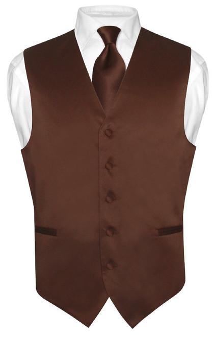 Chocolate Brown Vest   Mens Brown Dress Vest And Necktie Set