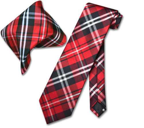 Vesuvio Napoli Black Red White Plaid NeckTie & Handkerchief Tie Set