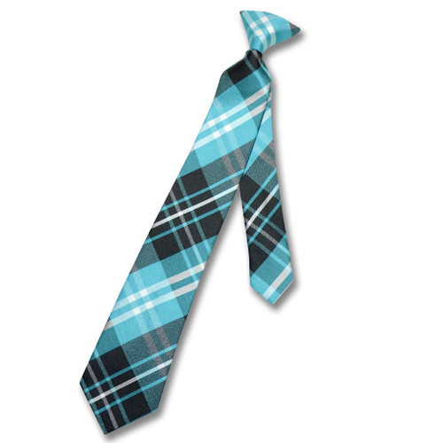 Vesuvio Napoli Boys Clip-On NeckTie Black Turquoise White Plaid Tie