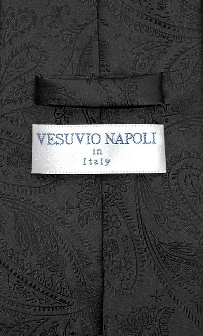 Vesuvio Napoli NeckTie Black Color Paisley Design Mens Neck Tie