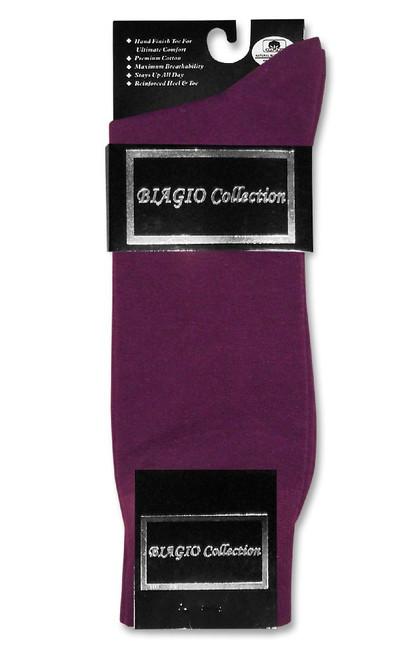 Solid Purple Color Mens Socks | 1 Pair of Biagio Cotton Dress Socks