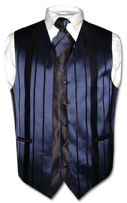 Mens Dress Vest & NeckTie Navy Blue Color Woven Striped Neck Tie Set